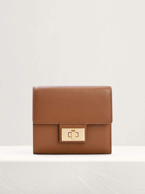 Leather Short Wallet On Chain, Cognac, hi-res