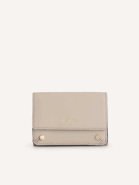 織紋三折疊皮革錢包, 沙色, hi-res
