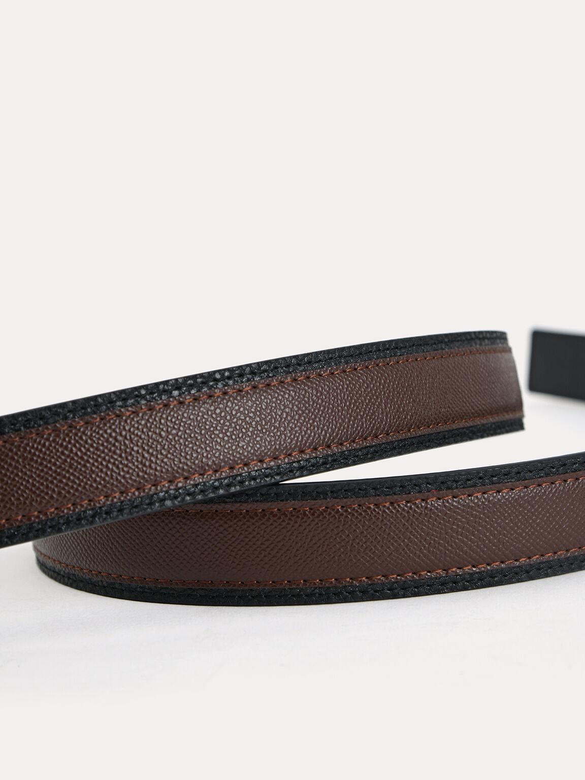 Textured Leather Pin belt, Dark Brown, hi-res
