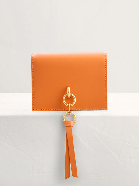 Two-Way Leather Wallet on Chain, Orange, hi-res