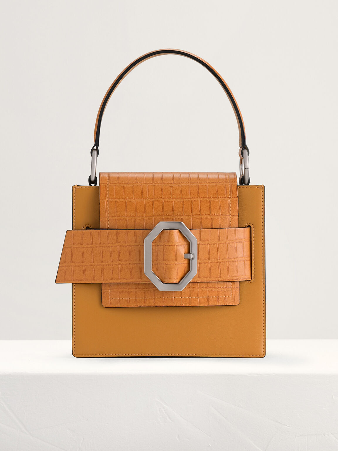 Croc-Effect Buckled Top Handle Bag, Mustard, hi-res