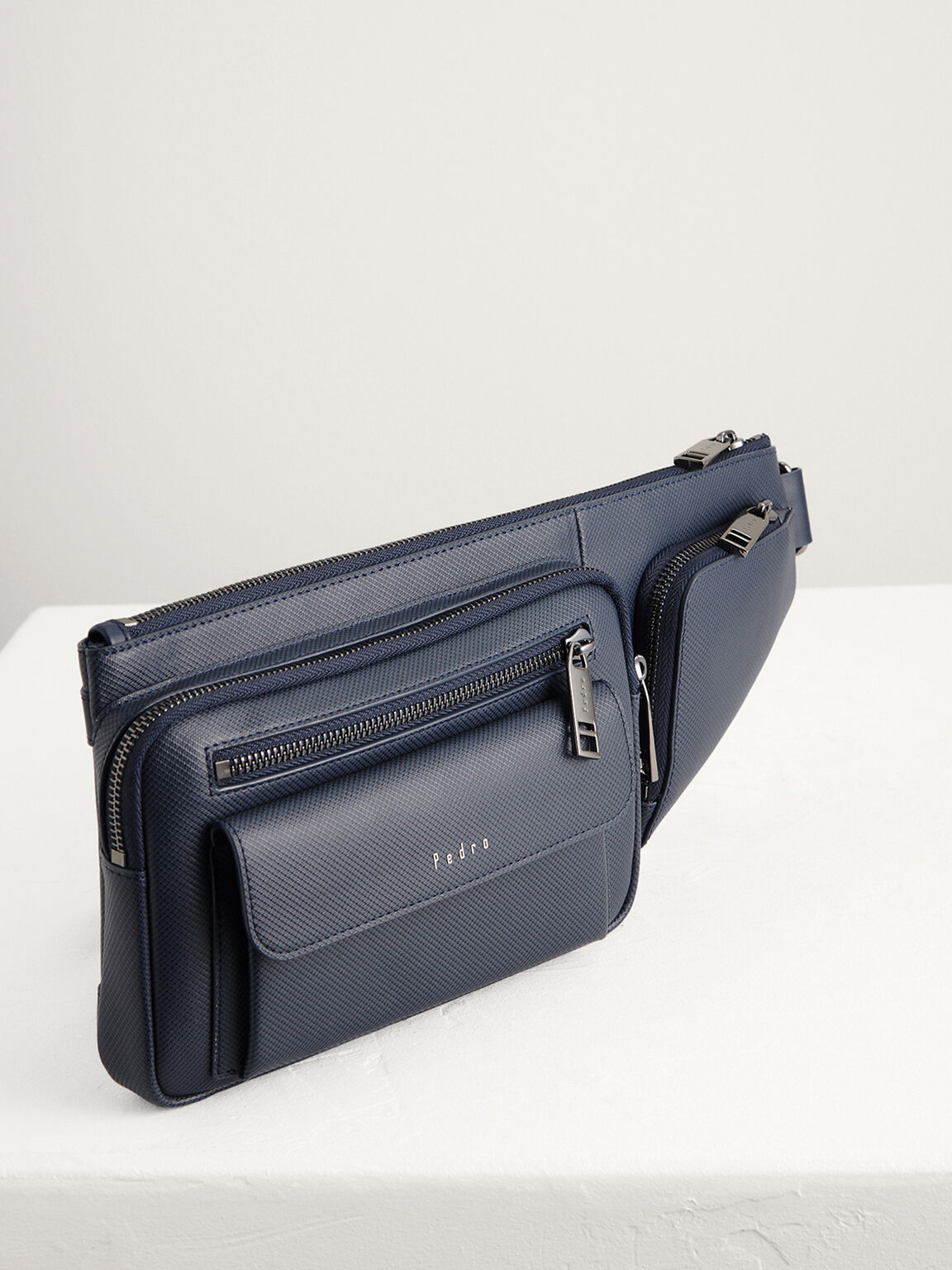 Embossed Sling Pouch, Navy, hi-res