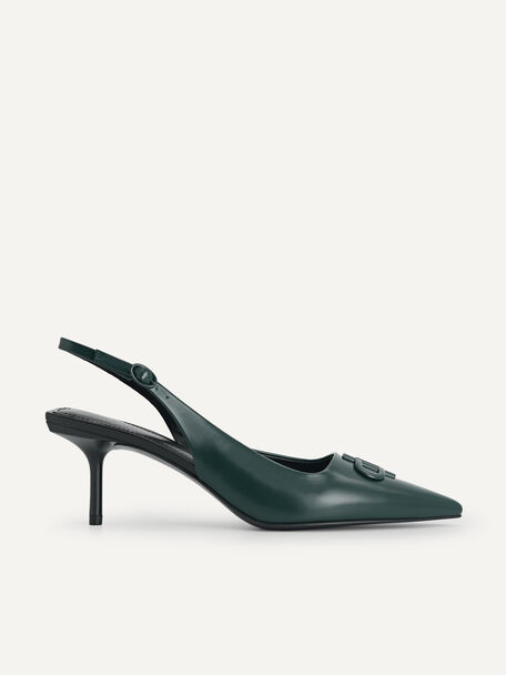 Icon Leather Pointed Toe Slingback Heels, Dark Green, hi-res