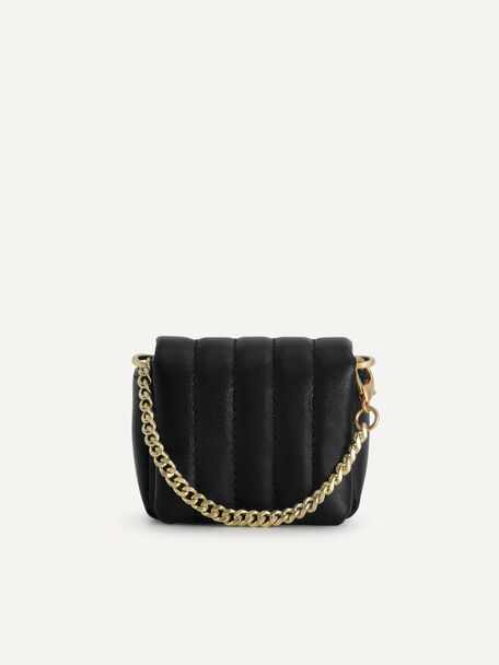 Padded Leather Pouch, Black, hi-res