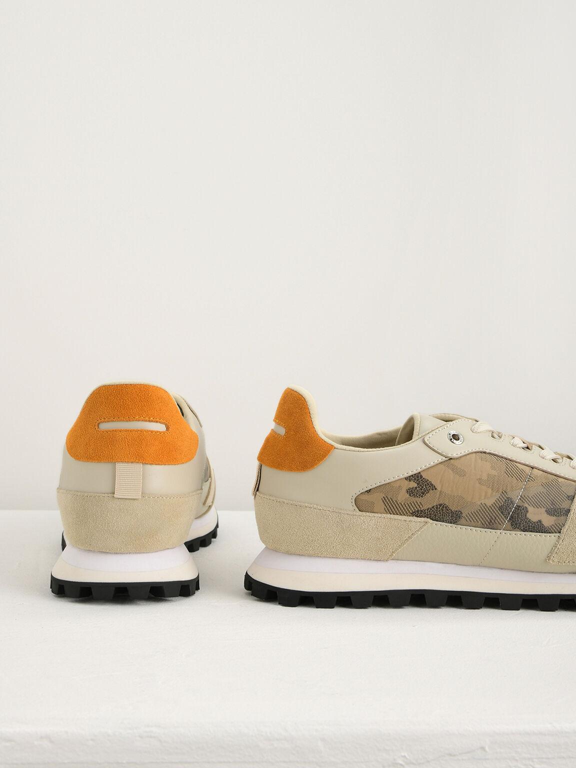 Camouflage Printed Sneakers, Beige, hi-res