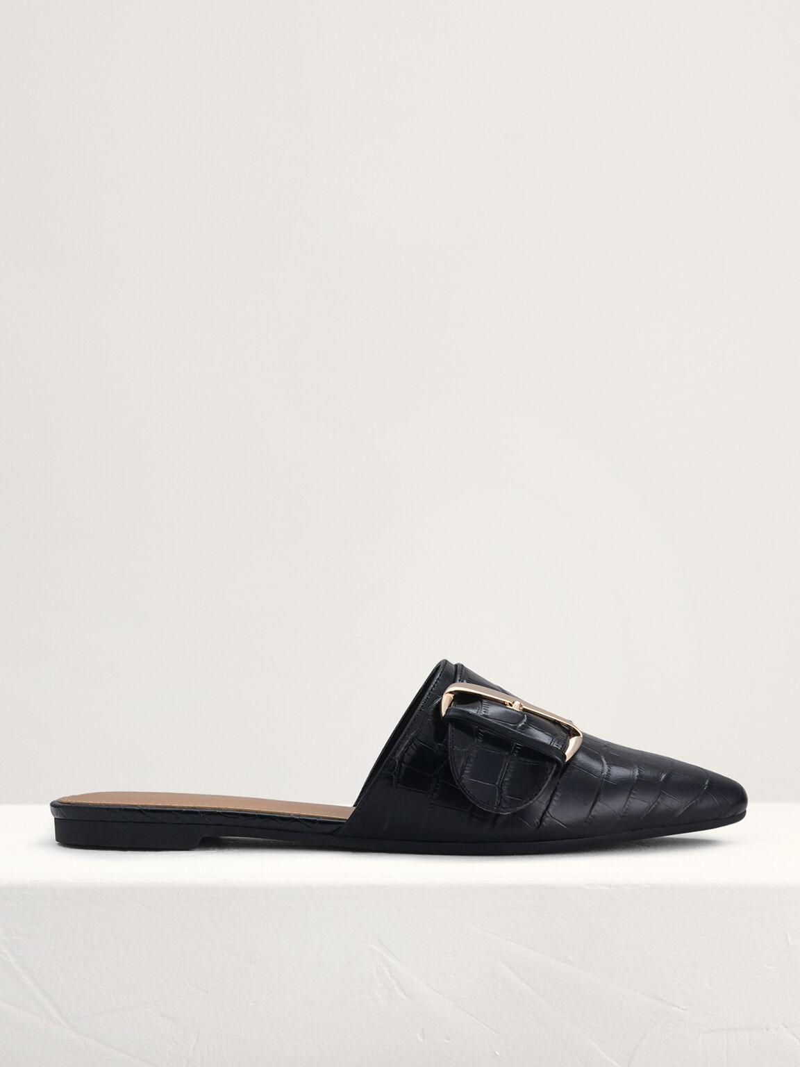 Croc-Effect Buckled Leather Mules, Black, hi-res