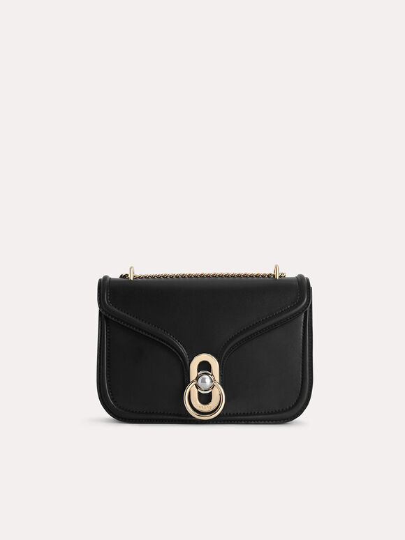Leather Shoulder Bag, Black, hi-res