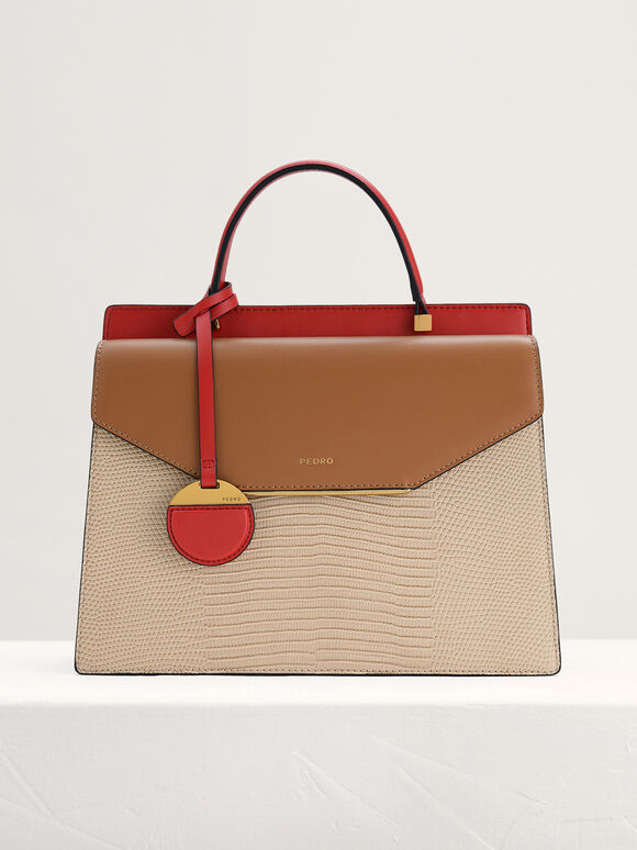 Lizard-Effect Structured Top Handle Bag, Multi, hi-res