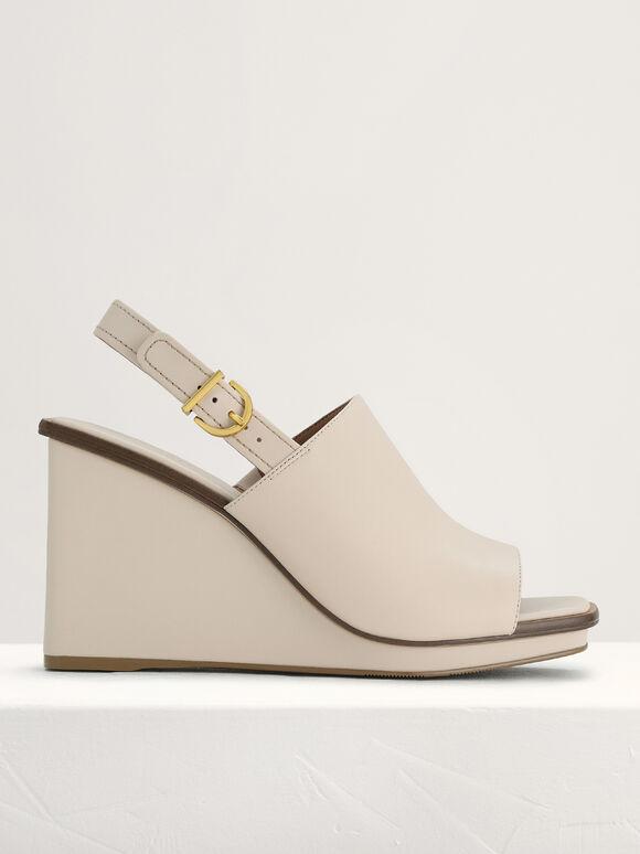 Leather Wedge Sandals, Cream, hi-res