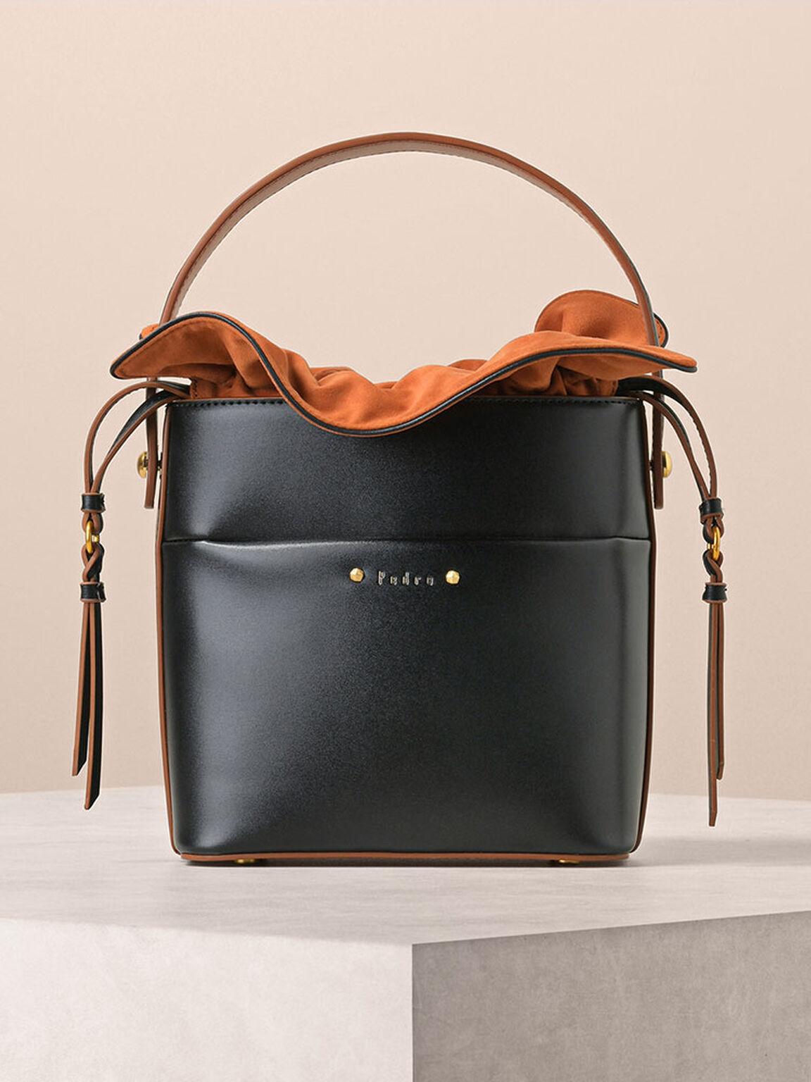 Drawstring Bucket Bag, Black, hi-res