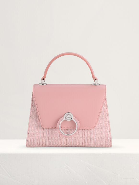 Tween Structured Top Handle Bag, Light Pink, hi-res