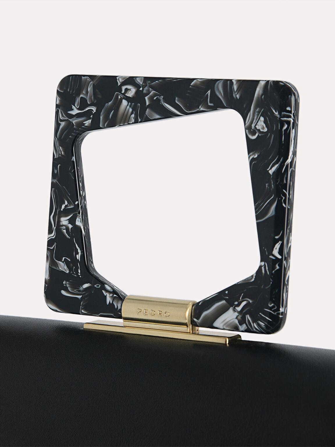 Top Handle Bag with Acrylic Handle, Black, hi-res