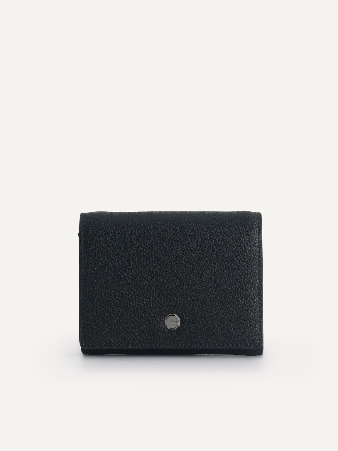 Textured Leather Pouch, Black, hi-res
