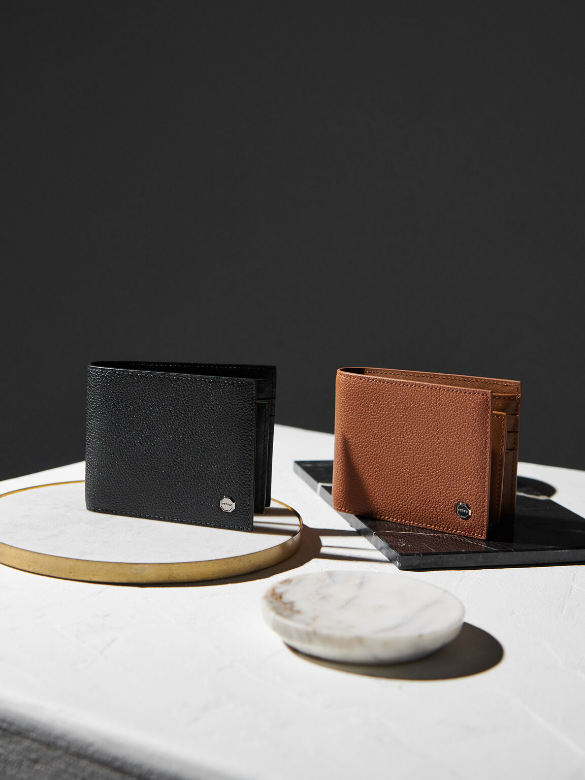 Textured Leather Bi-Fold Wallet with Insert, Cognac, hi-res
