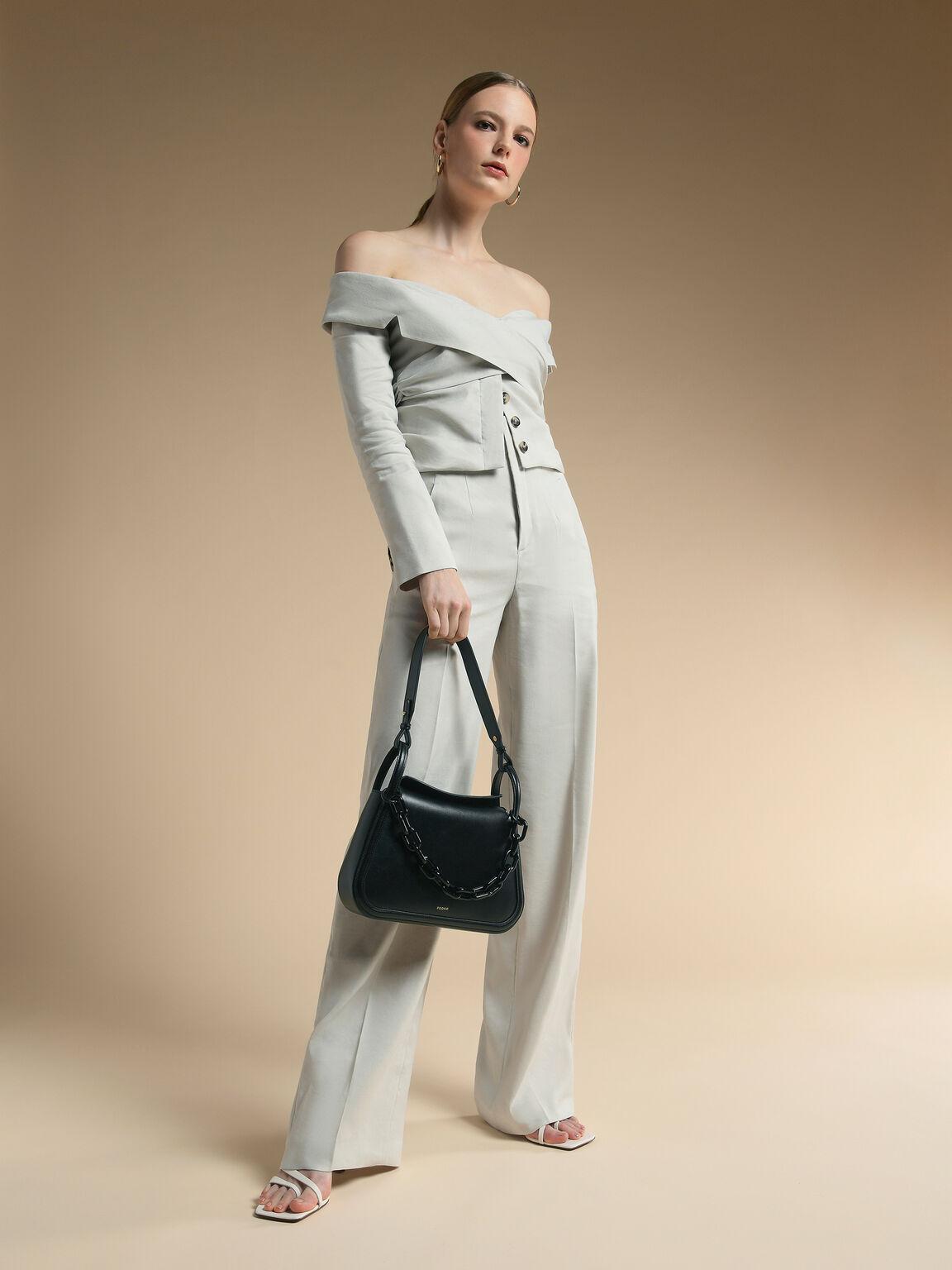 Chain Shoulder Bag, Black, hi-res
