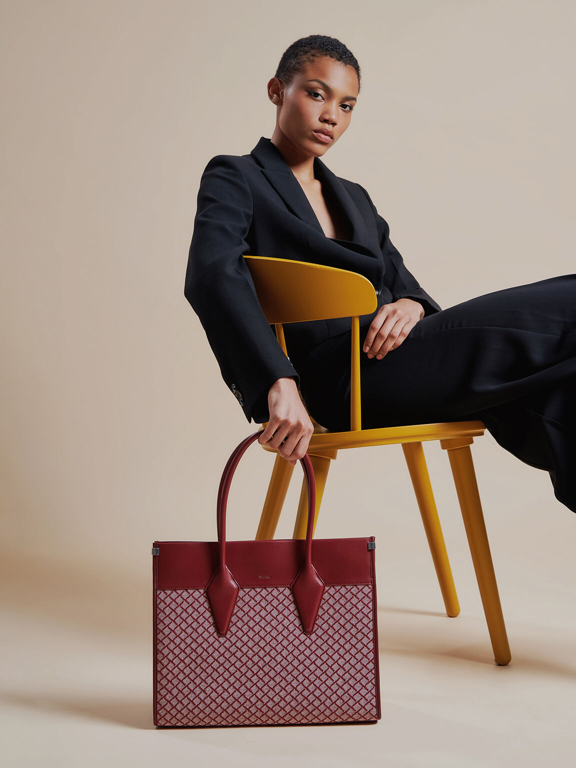 Structured Canvas Tote, Wine, hi-res