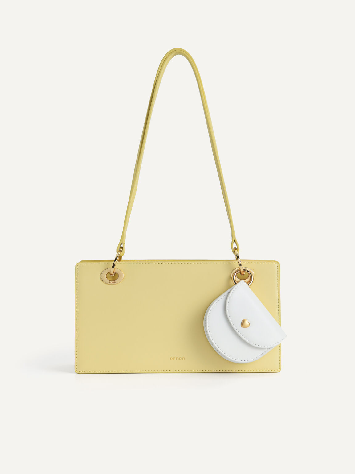 Leather Top Handle Bag, Light Yellow, hi-res