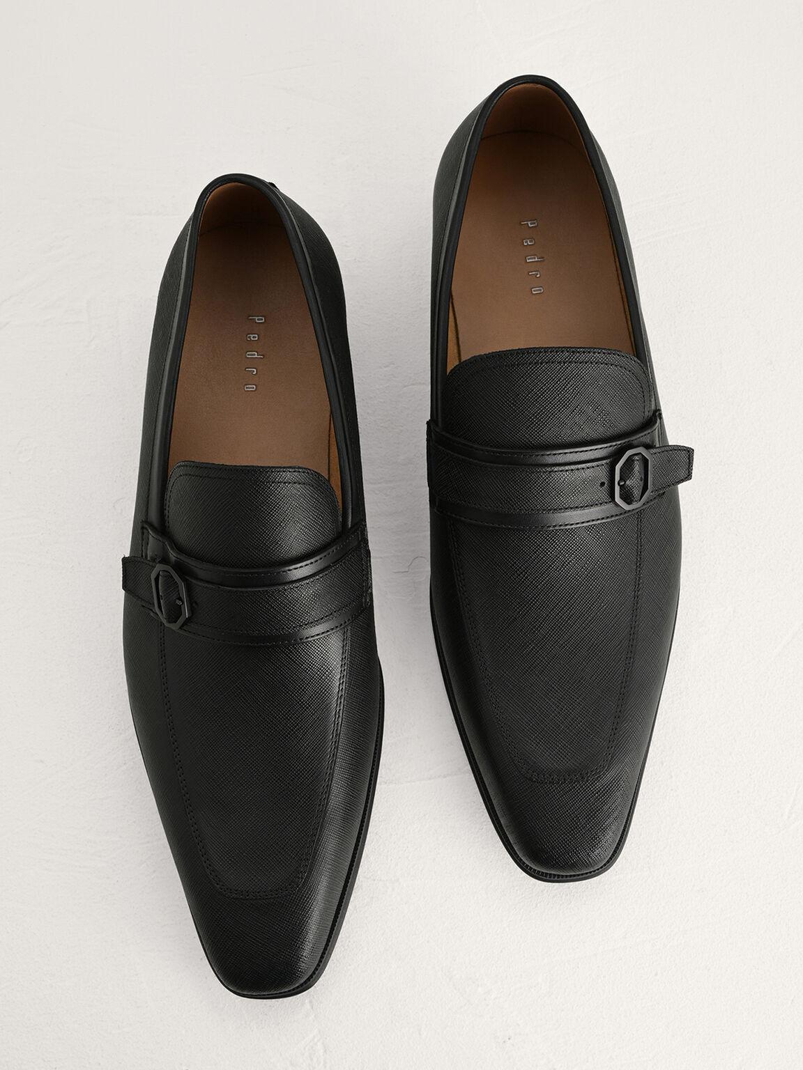 Buckled Leather Loafers, Black, hi-res