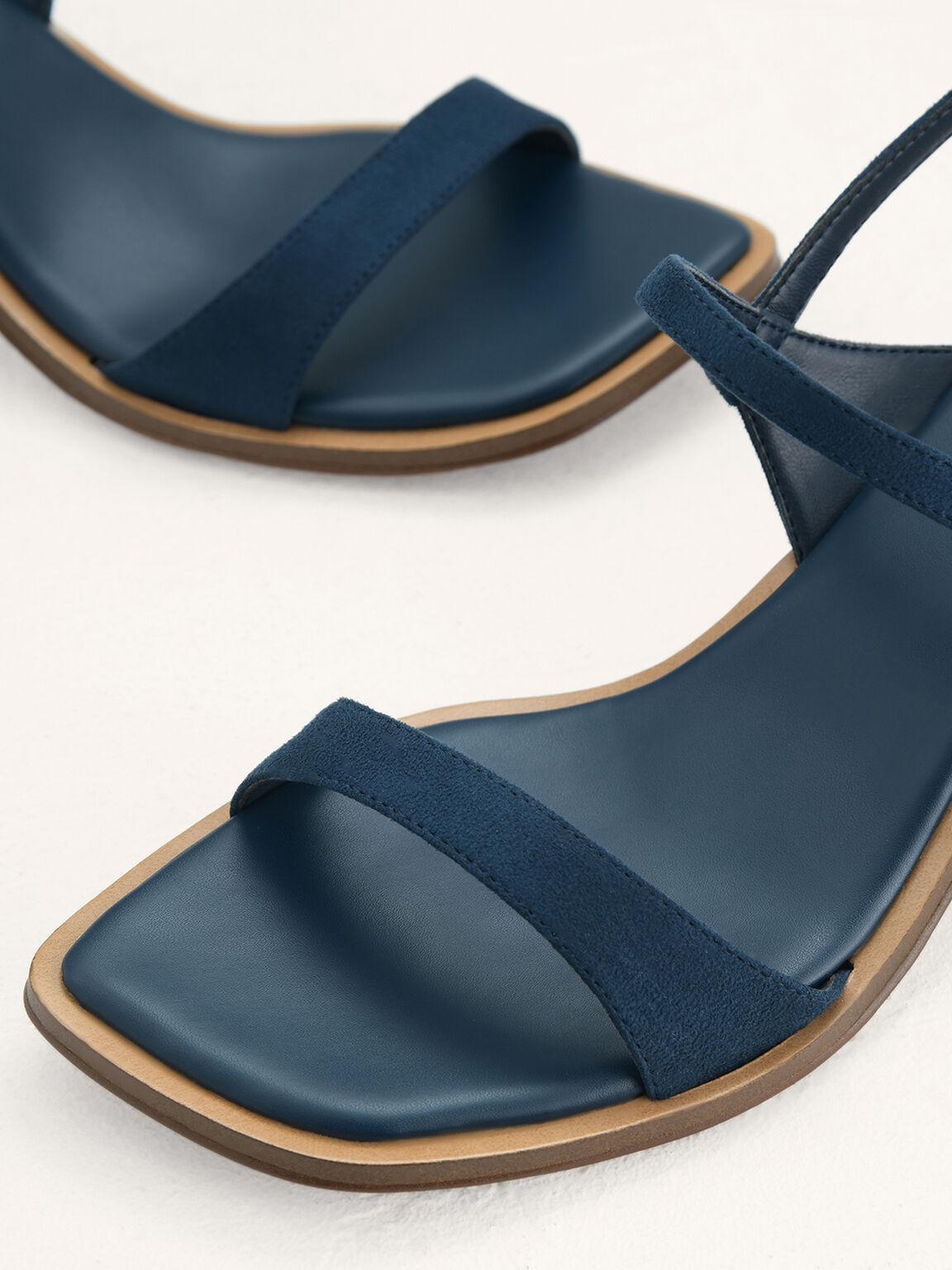 Slingback Heeled Sandals, Navy, hi-res