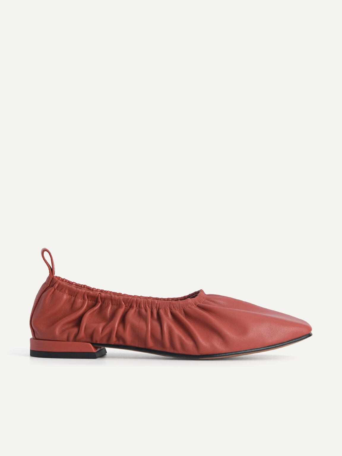 Ruched Leather Flats, Brick, hi-res