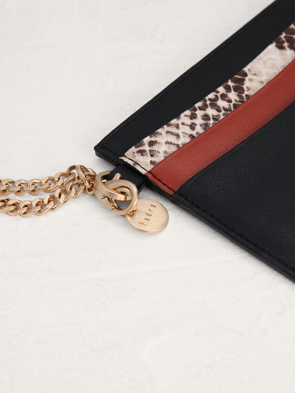 Snake-Effect Leather Card Holder, Black, hi-res