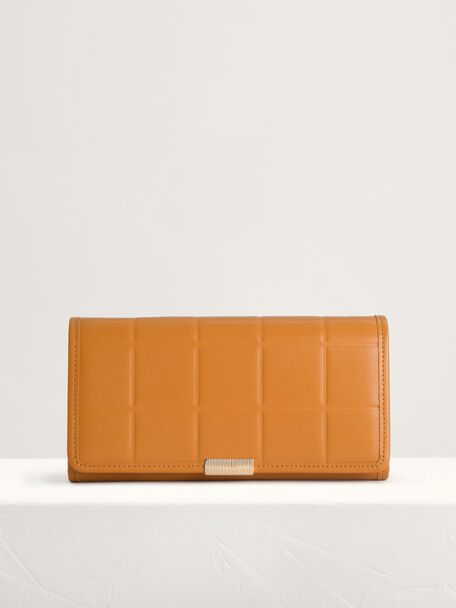 Qulited Long Leather Wallet on Chain, Mustard, hi-res
