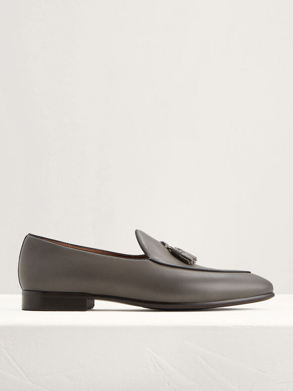 Leather Tasselled Loafers, Dark Grey, hi-res