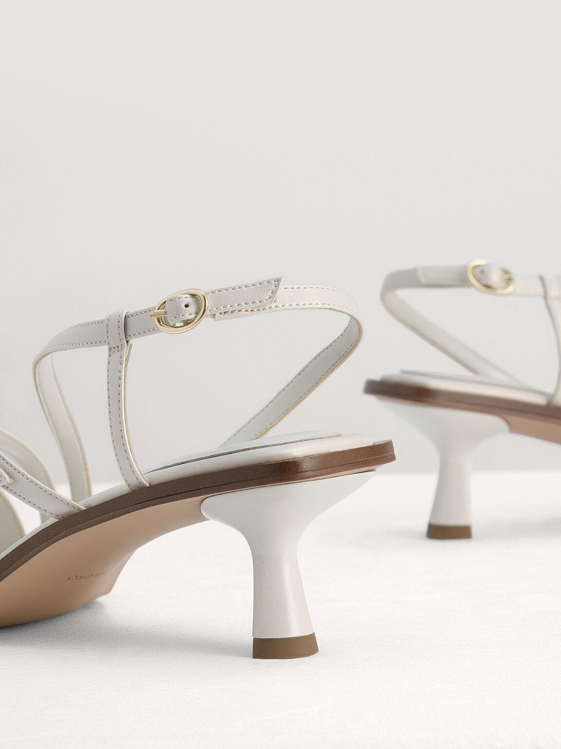 Pearlised Strappy Heel Sandals, Chalk, hi-res