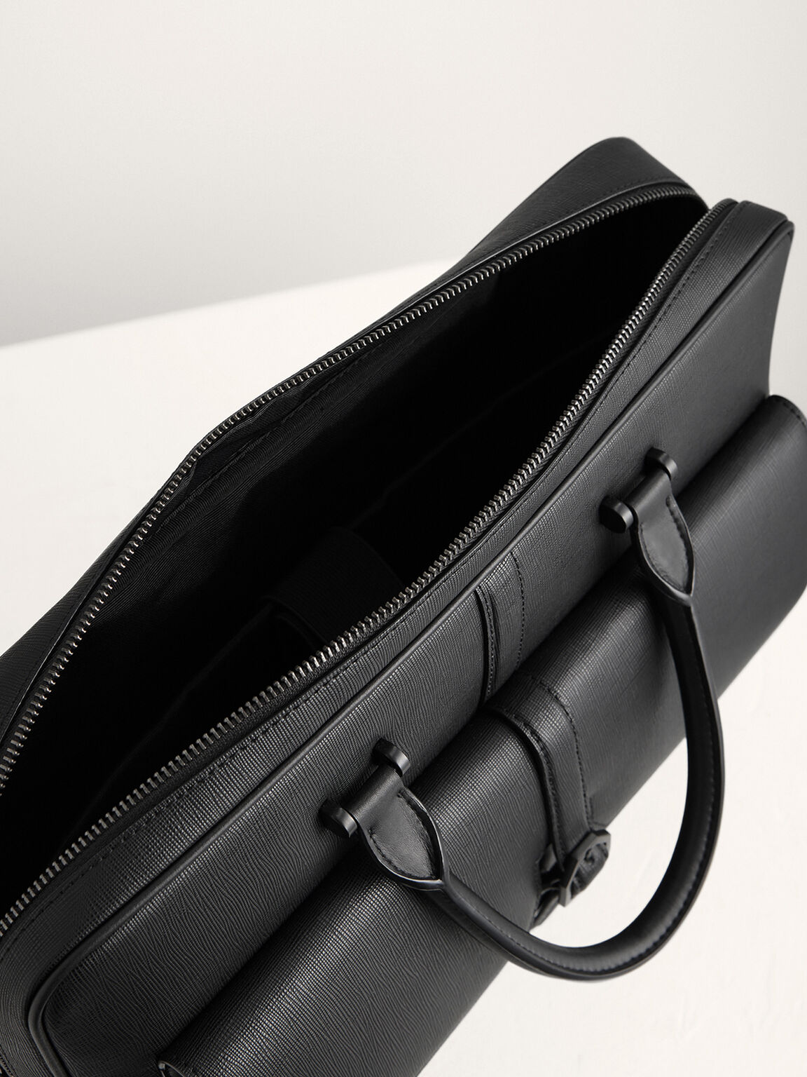 Leather Briefcase with Buckle Detail, Black, hi-res