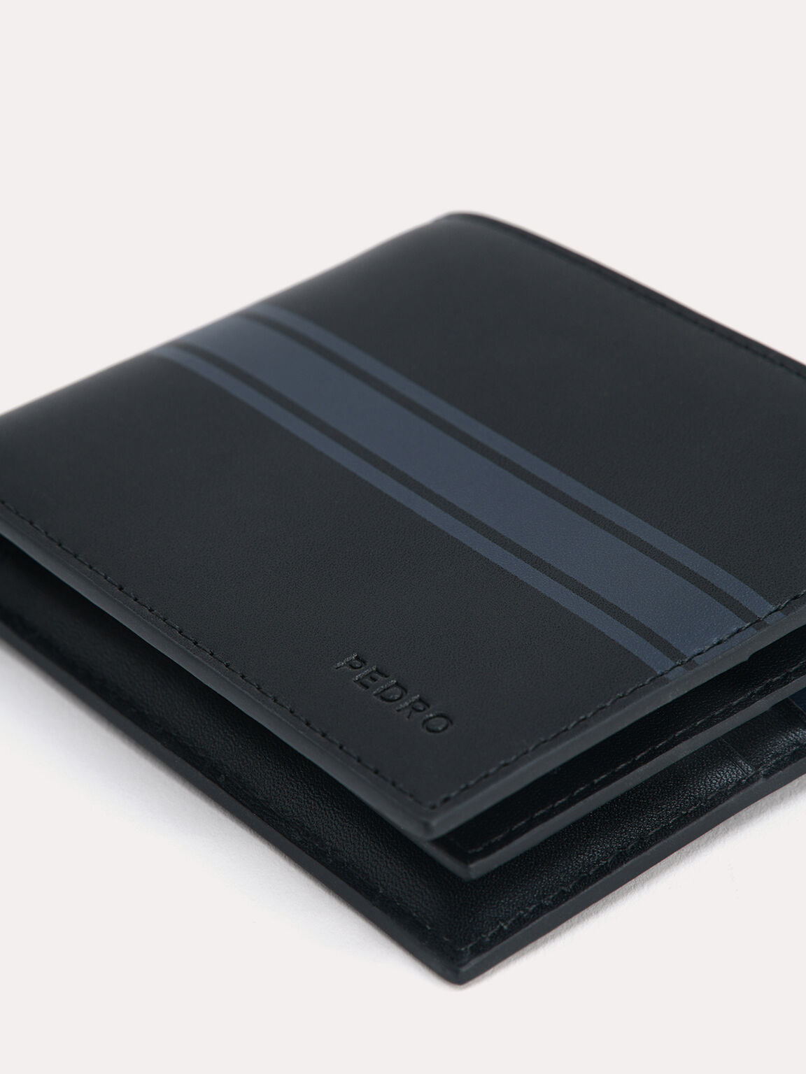 Two-Tone Leather Bi-Fold Wallet, Black, hi-res