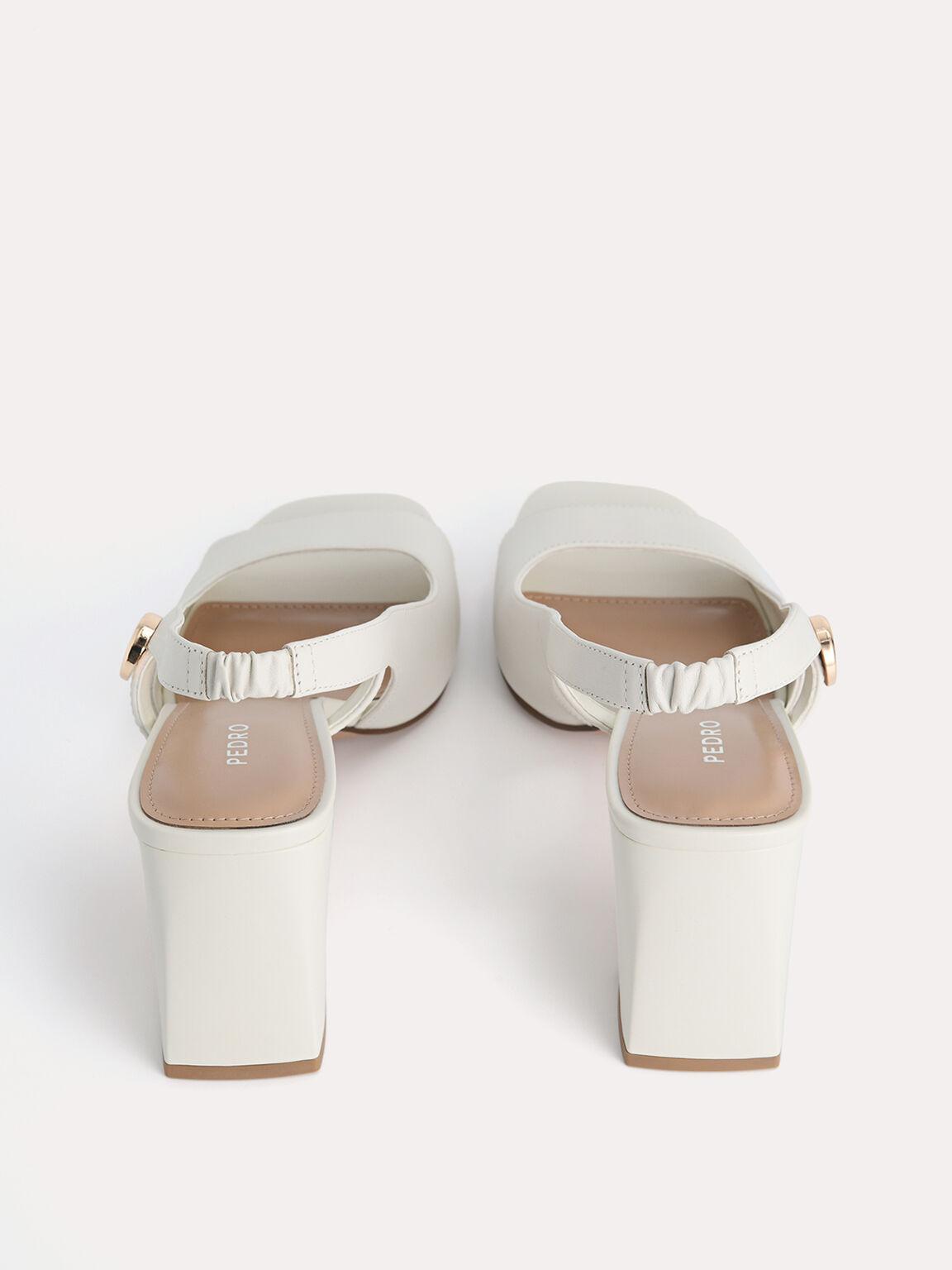 Leather Slingback Heeled Sandals, Chalk, hi-res