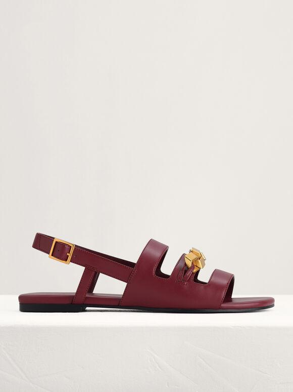 Gold Embellished Slingback Sandals, Wine, hi-res