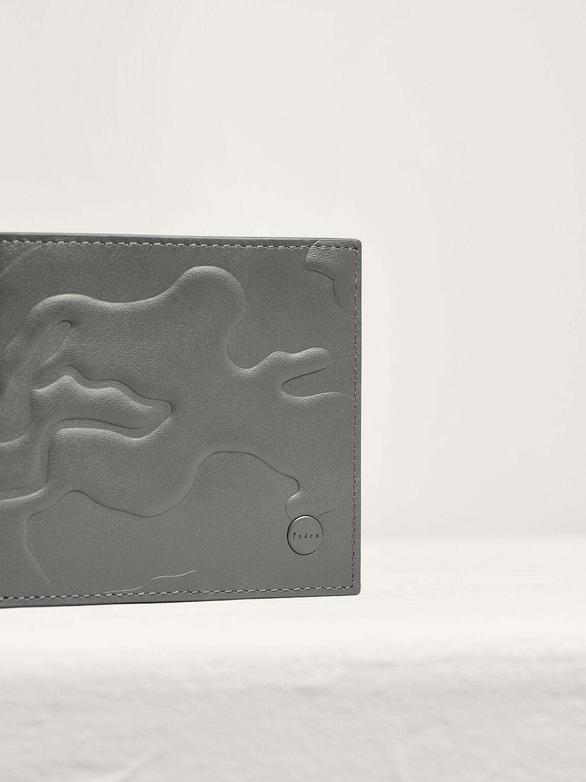 Embossed Leather Bi-Fold Wallet, Light Grey, hi-res