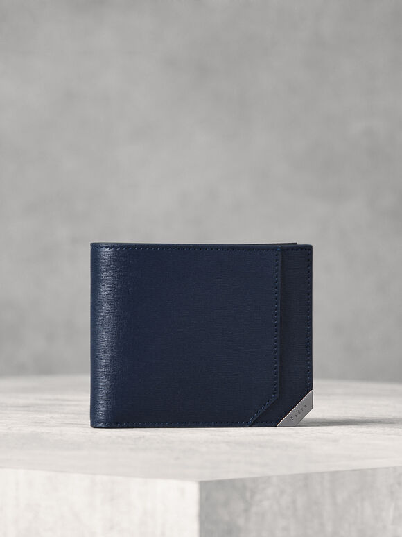 Metallic Tip Bifold Wallet, Navy, hi-res