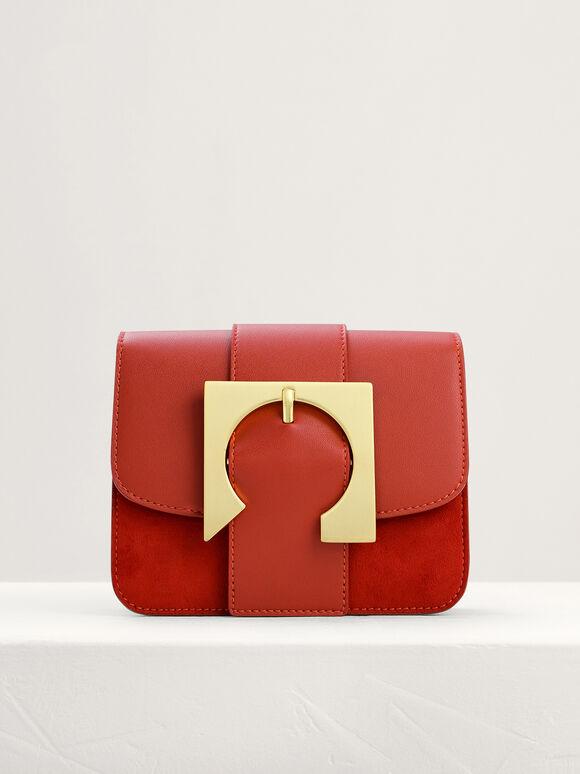 Geometric Buckled Mini Shoulder Bag, Brick, hi-res