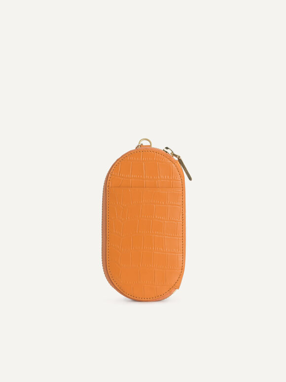 Textured Leather Pouch, Orange, hi-res