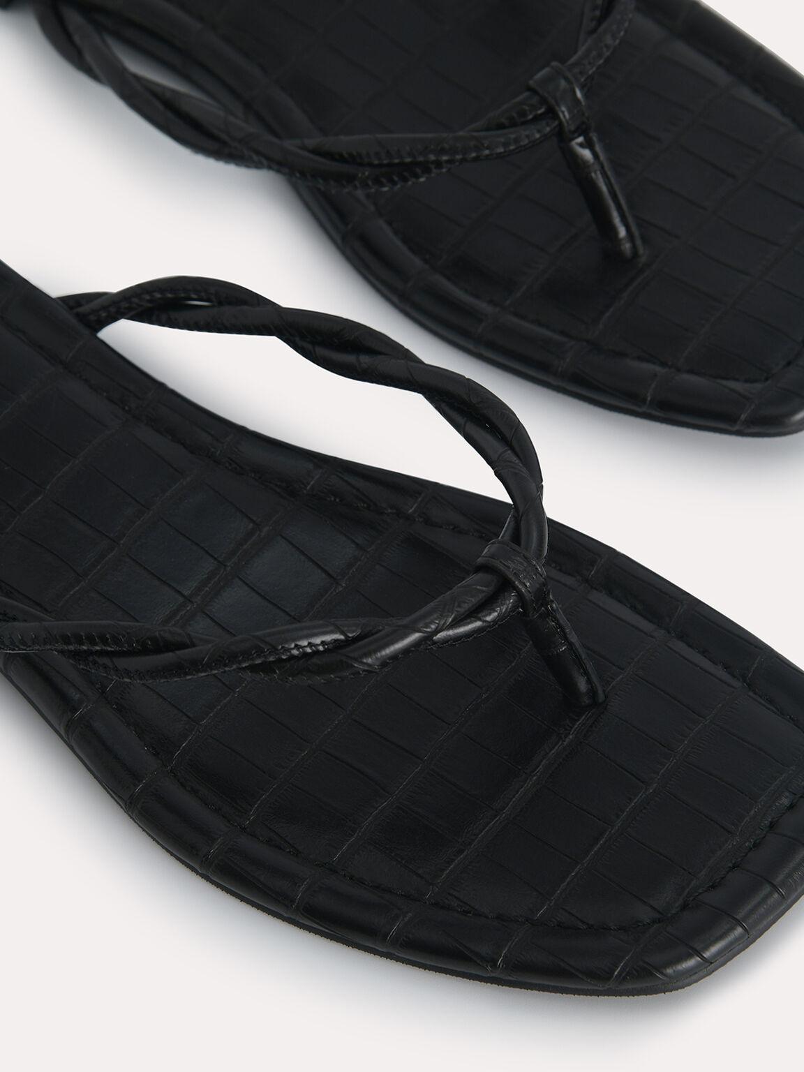 Croc-Effect Thong Sandals, Black, hi-res