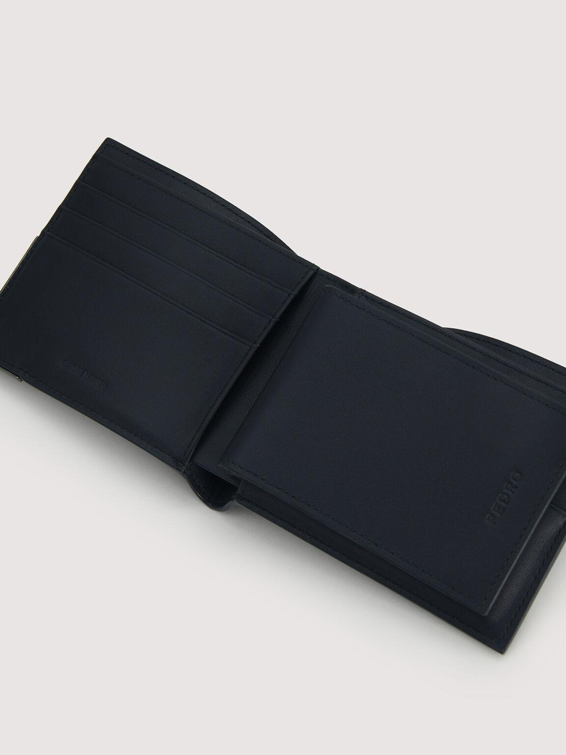 Leather Bi-Fold with Flip, Navy, hi-res
