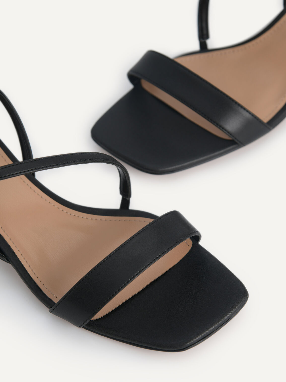 Strappy Sandals with Ornament Heels, Black, hi-res