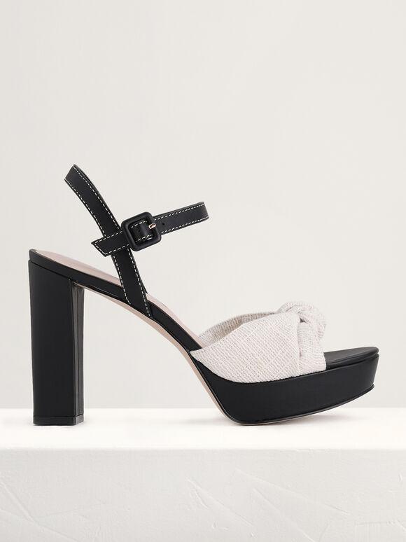Knotted Leather Platform Sandals, Black, hi-res