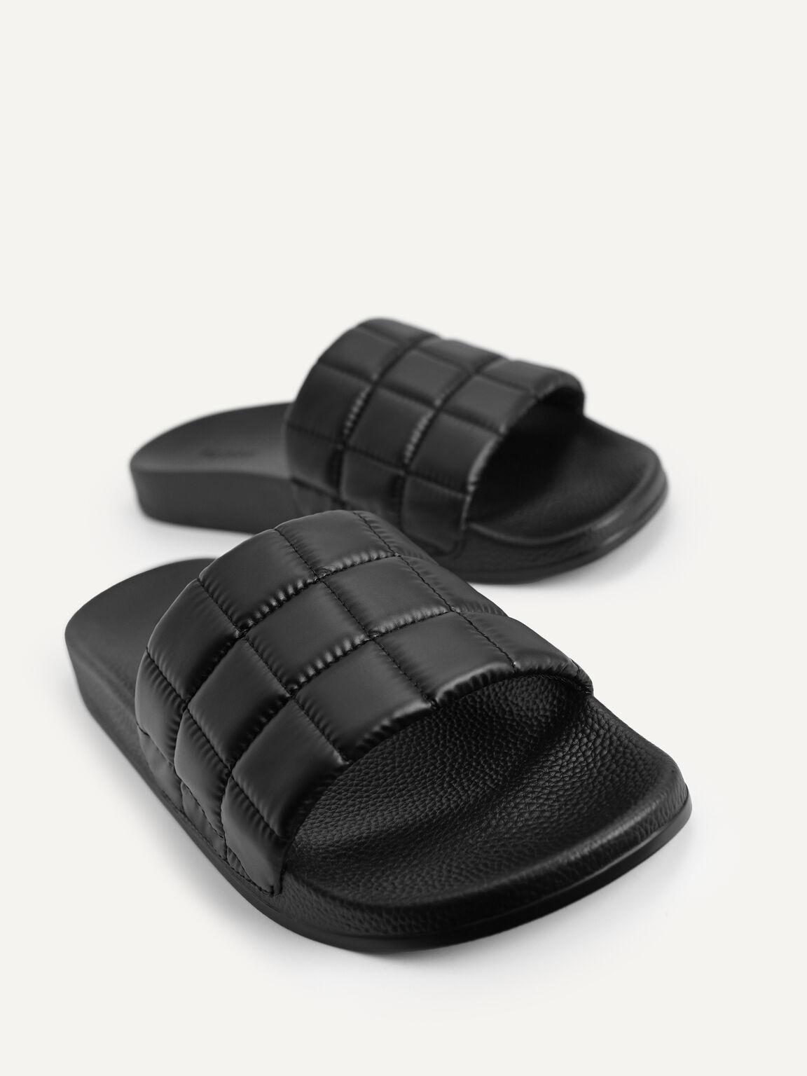Quilted Slides, Black, hi-res