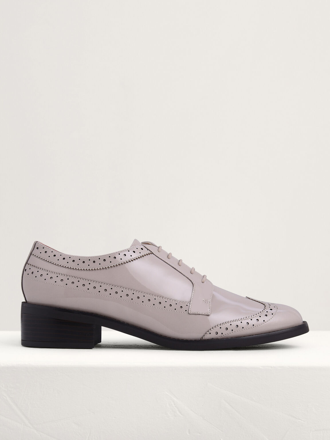 Patent Leather Cap Toe Derby Shoes, Taupe, hi-res