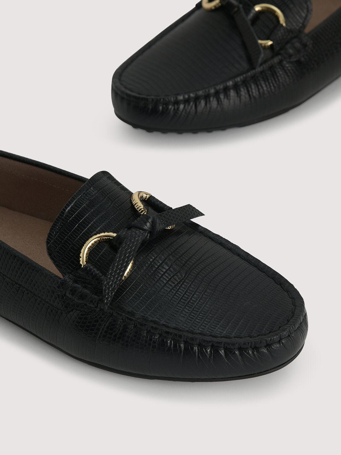 Embossed Leather Moccasins, Black, hi-res