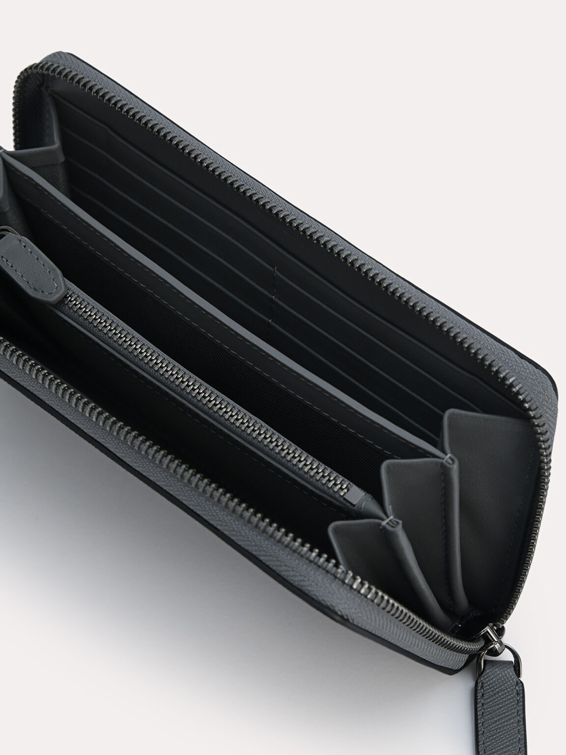Long Leather Wallet, Dark Grey, hi-res