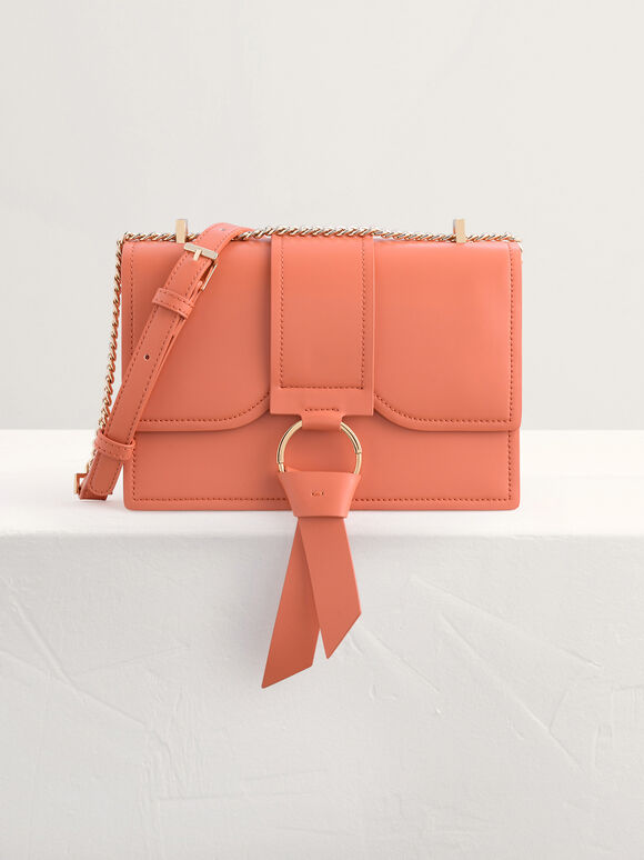 Boxy Shoulder Bag with Knotted Detail, Peach, hi-res