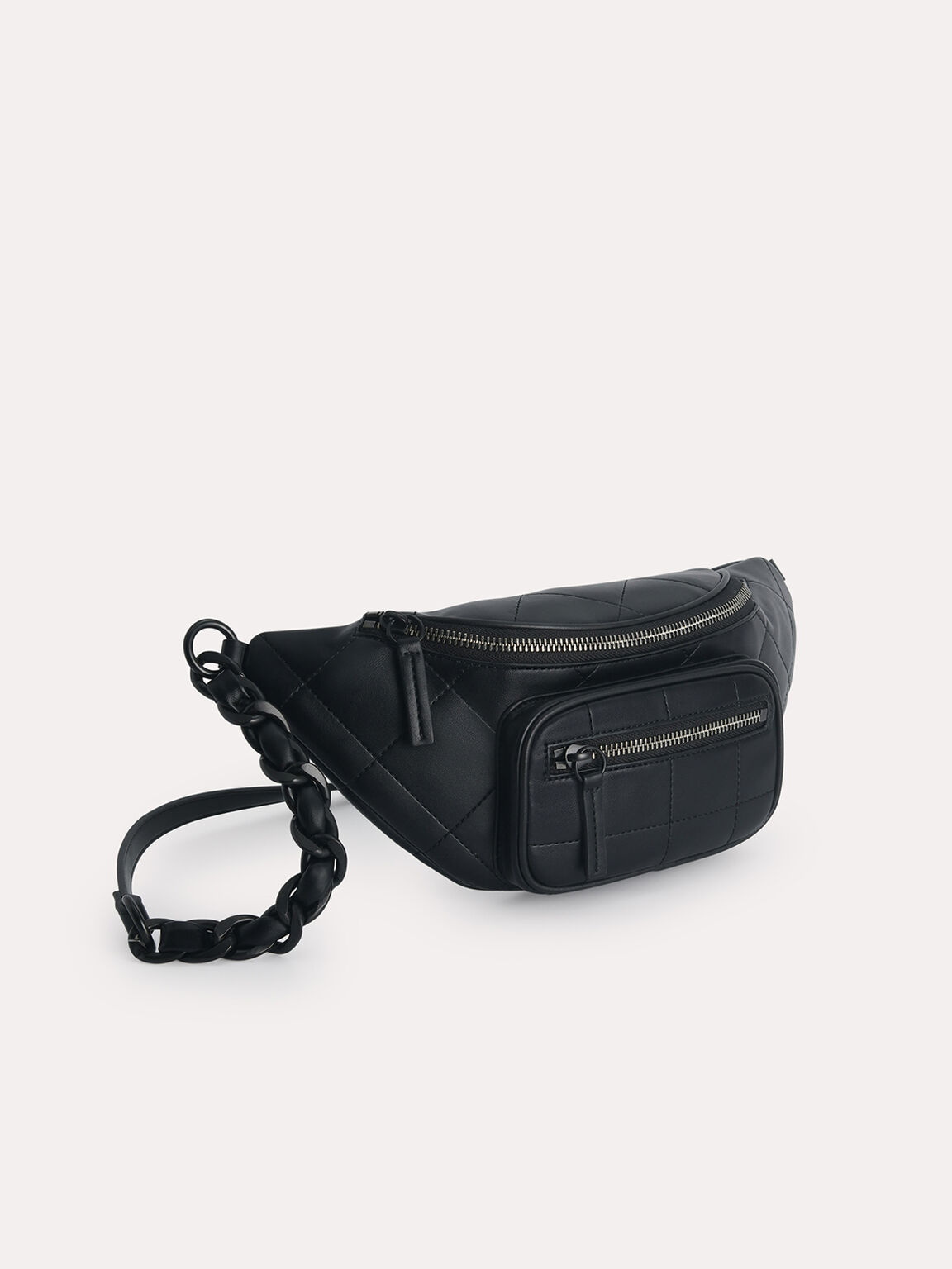 Quilted Sling Bag, Black, hi-res