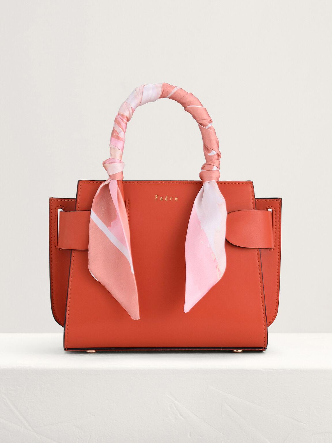 Twill-Trimmed Top Handle Bag, Orange, hi-res