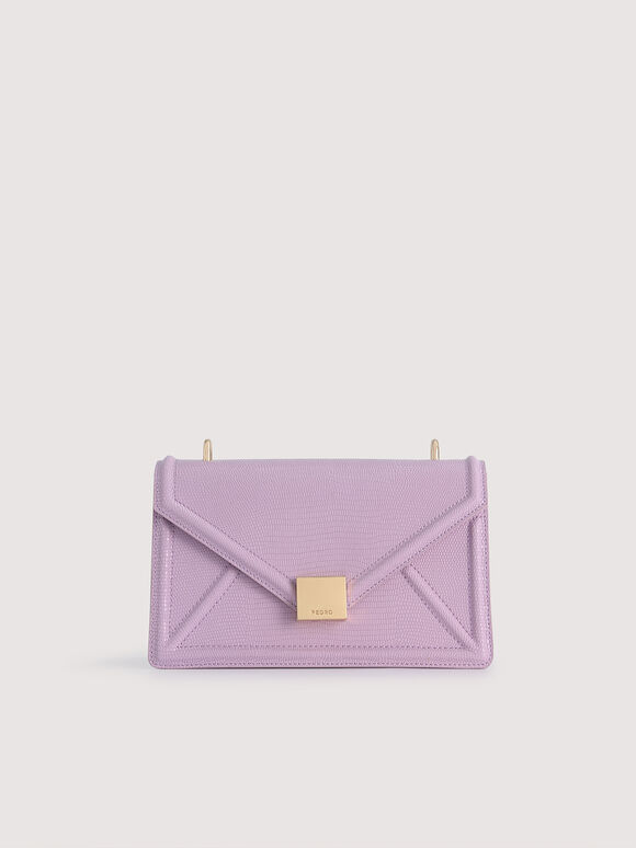 Lizard-Effect Leather Envelope Shoulder Bag, Lilac, hi-res
