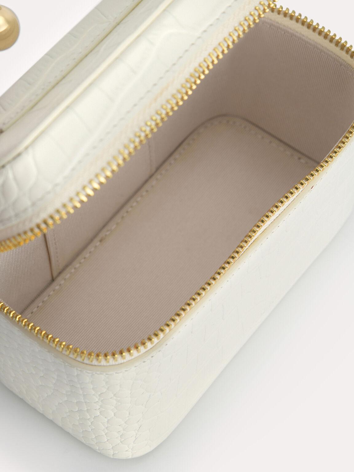 Textured Leather Vanity Case, Chalk, hi-res