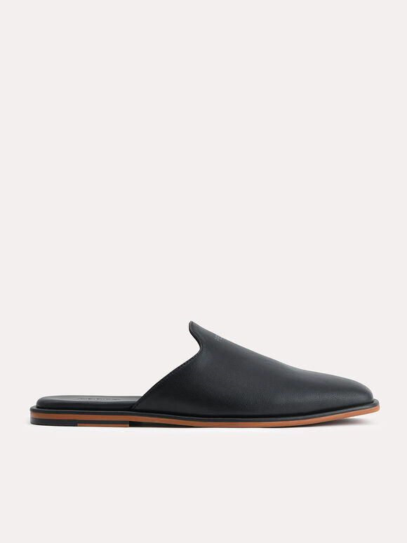 Slip-On Leather Mules, Black, hi-res